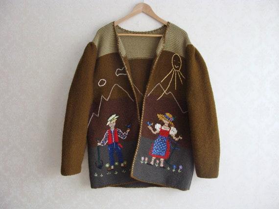 Hand Knitted Austrian Trachten Jacket, Austrian H… - image 2