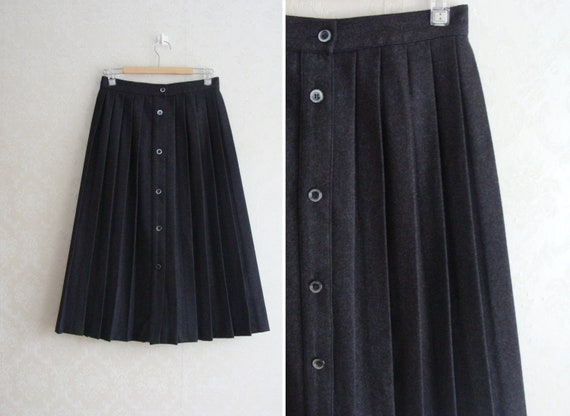 80s Dark Grey Wool Skirt with Pleats, Long Wool Wi