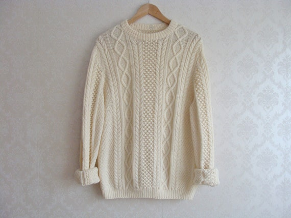 Cream Fisherman Sweater Women's, Cable Knit Sweate