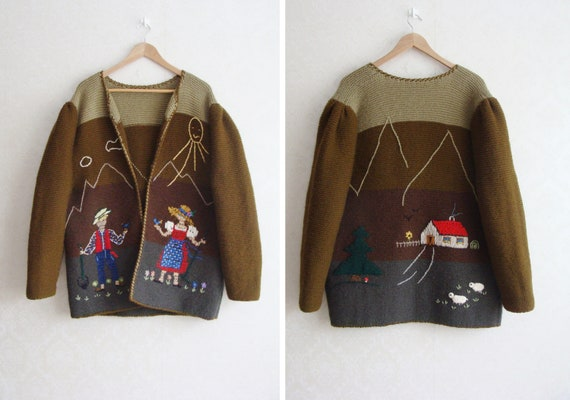 Hand Knitted Austrian Trachten Jacket, Austrian H… - image 1