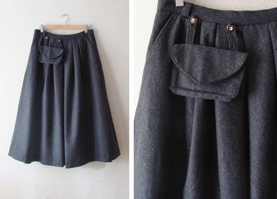80s Dark Grey Wool Skirt with Pockets, Long Wool W