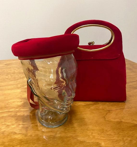 1950s/60s Velvet Handbag and Colby Hat Set