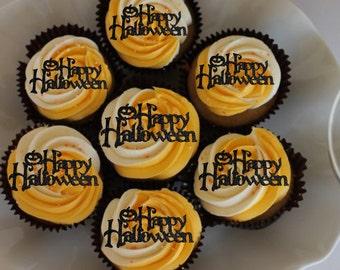 Happy Halloween cupcake toppers, Halloween cupcake topper, spooky toppers,  Halloween decor, trick or treat, Halloween party, Halloween