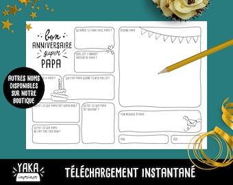 Papa, carte d'anniversaire, fichier à imprimer en français avec questions à faire remplir par votre enfant (téléchargement instantané)