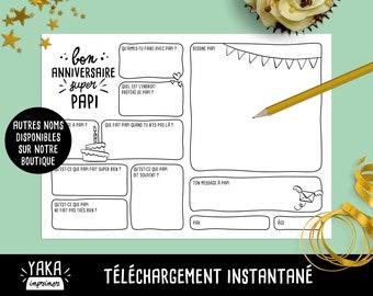 Papi, carte d'anniversaire, fichier à imprimer en français avec questions à faire remplir par votre enfant (téléchargement instantané)