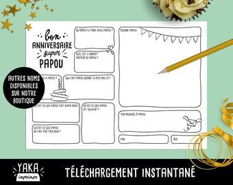 Papou, carte d'anniversaire, fichier à imprimer en français avec questions à faire remplir par votre enfant (téléchargement instantané)