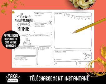 Mamie, carte d'anniversaire, fichier à imprimer en français avec questions à faire remplir par votre enfant (téléchargement instantané)