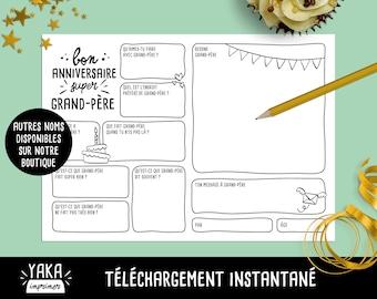 Grand-père, carte d'anniversaire, fichier à imprimer en français avec questions à faire remplir par votre enfant (téléchargement instantané)