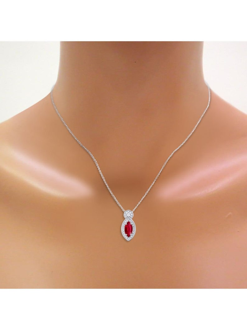 RYLOS Simply Elegant Beautiful Red Ruby /& Diamond Pendant  Necklace July Birthstone925 Sterling Silver or 925 Yellow Gold Plated