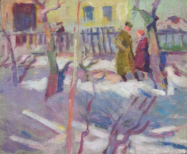 Original Oil PaintingArtist KnyshevskyUkraine Socrealism ImpressionismUSSR VintageOriginal SignedArt/&CollectiblesHome Decor Picture