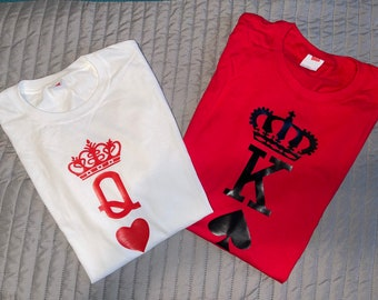 Mens KING OF HEARTS T-shirt  Romantic Playing Cards Tattoo Gift