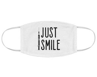Just Smile Mask, Fabric Face Mask, Nurse Mask, Funny Mask elastic Face mask, custom mask, funny medical mask