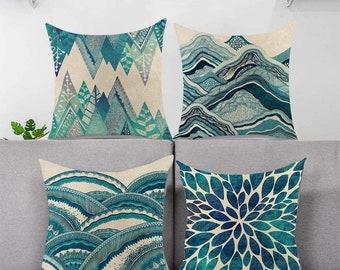Aqua Throw Pillow Cover