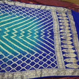 bridal saree silk thread zari indian wear Handmade pure Georgette saree,banarasi saree,bandhani saree,bandhej saree,Resham