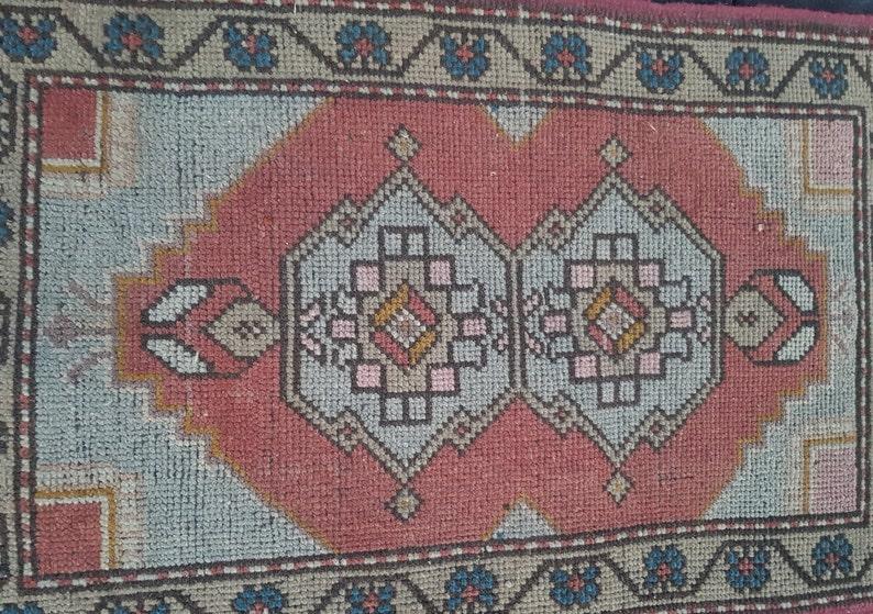 1.8\u00d72.9 ft Vintage oushak rugOushak vintage rug Kitchen decor rug Blue Turkish rug Anatolian rug Handwoven rug Hand made rug Oriental rug