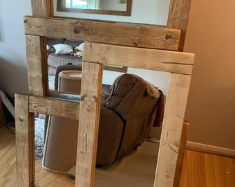 A English Oak Effect Wooden Mirror Hand Made and Unique available in different sizes & Custom Sizes are available,