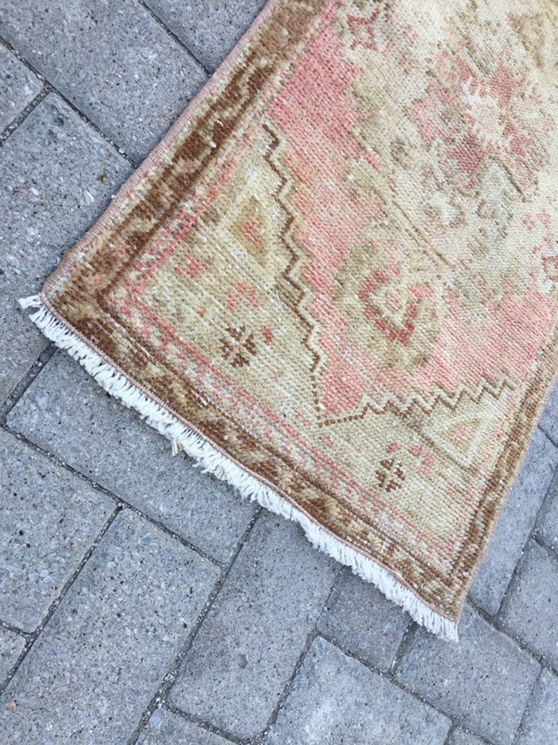 Muted color small rug Narrow Small Rug Handmade Small Oushak Rug Rug ped batch mats rug 1.5 x3ft Doormats Vintage Small Runner Rug