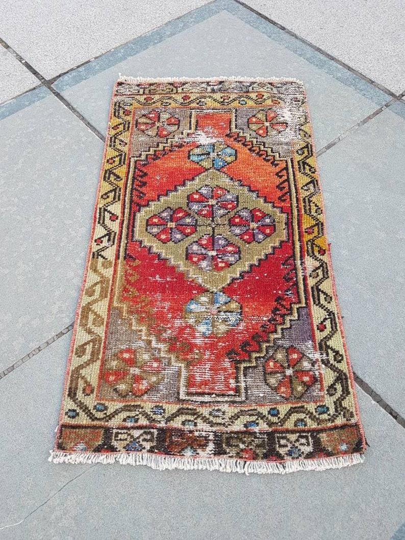 1/'6x3Ft Door mats Handmade Oushak Rug Bathroom Rug Narrow Small Runner Rug Table Rug Anatolian Vintage Small Rug Rug ped