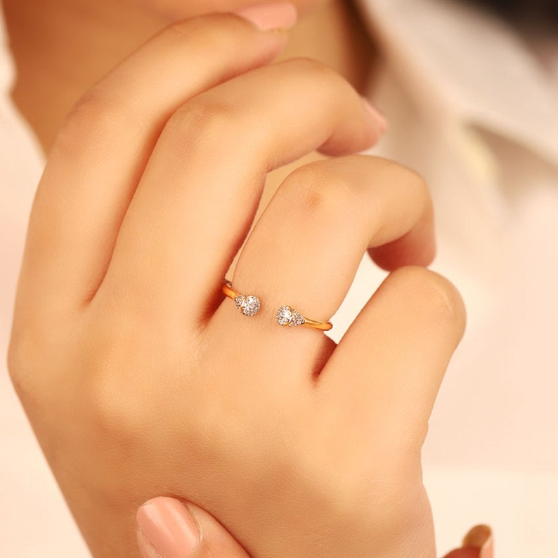 Rings Gold 10k Real White Diamond 14k 18k Anniversary Engagement Ring Women Wedding Bands Gift for her Minimalist Stackable Band Daily Wear