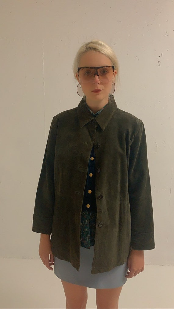 Vintage 90's Moss Green Suede Jacket