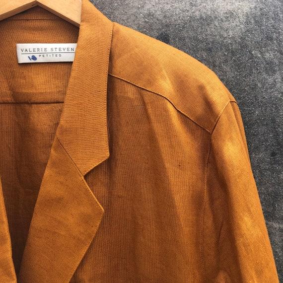 90s Gold Linen Skirt Suit - image 2
