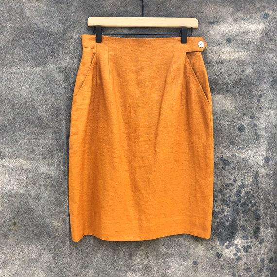 90s Gold Linen Skirt Suit - image 5
