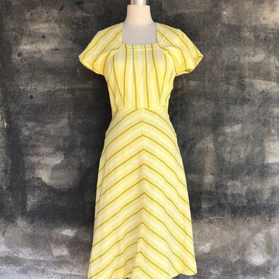 1940s Yellow Stripe Cotton Dress