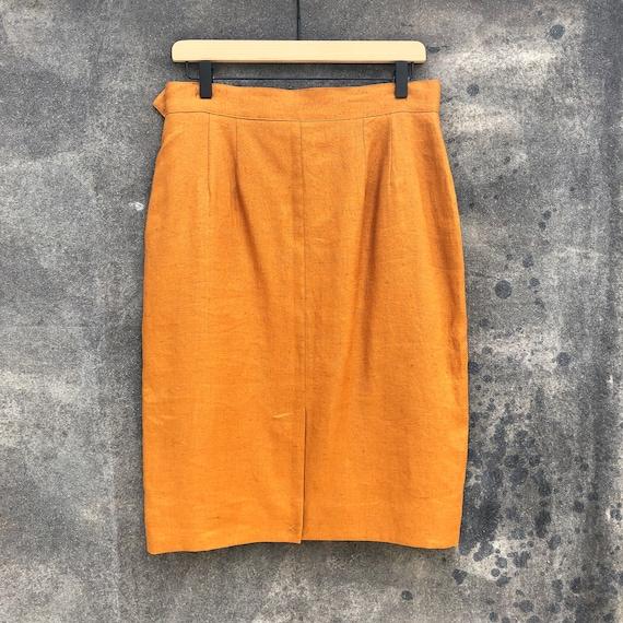 90s Gold Linen Skirt Suit - image 7