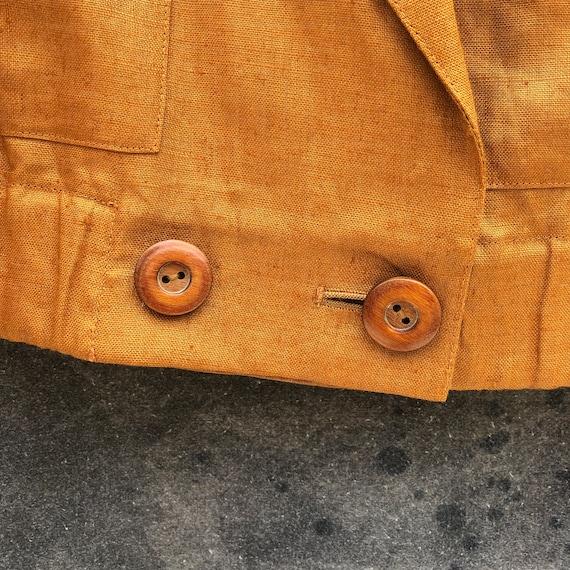90s Gold Linen Skirt Suit - image 3