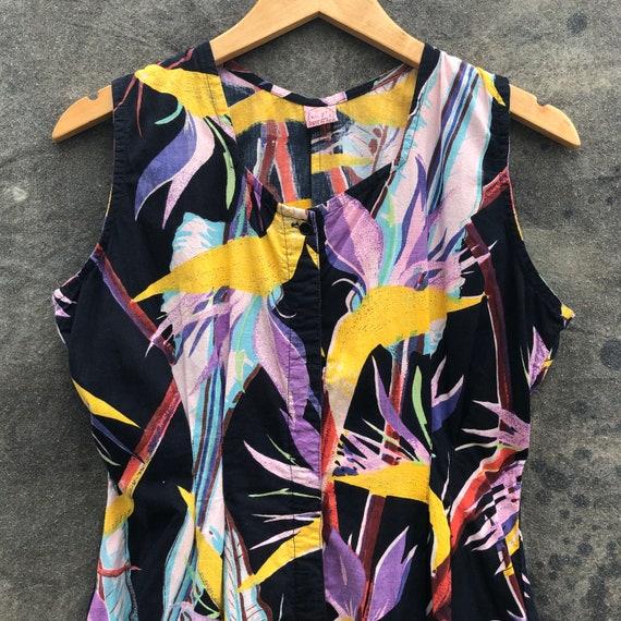 90s Tropical Print Jumpsuit