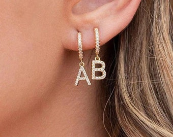 Rose Gold Personalized Jewelry Tiny Letter Earring Gift For Her Dainty Earring 14k Solid White Gold Initial Earrings Initial Earring
