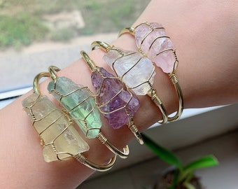 personalized custom bangle bracelet crystal healing gemstone beads Moonstone and Amethyste cuffed adjustable bracelet