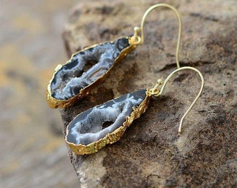 A-14889 Natural Agate Slice Druzy Stone Earrings Double Bail Connect Earrings Gold Edge Earrings Components Pairs Making Jewelry Supplies