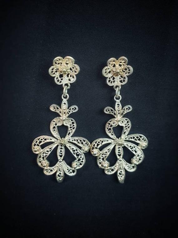 Filigree Earrings/ Silver Filigree Drop Earrings/