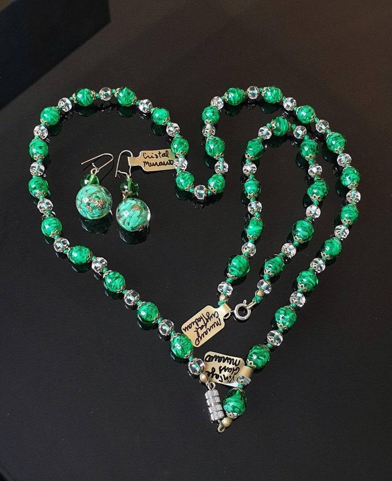 Murano Glass Necklace Earrings and Bracelet Vintage Murano Glass Jewelry Green Venetian Glass Wedding Cake Set Italian Glass Earrings