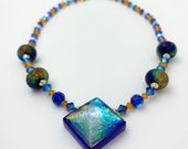 Dichroic Pyramid Prism Glass Necklace, Handmade glass beads, Sterling Silver, Swarovski crystal,magnetic clasp, Beautiful gift, Jewelry