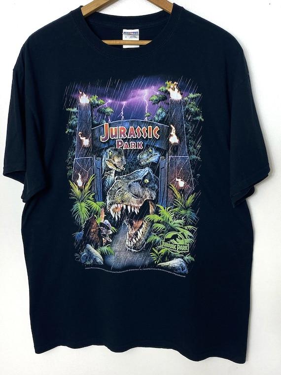 Vintage Jurassic Park T-shirt lightning fire flame