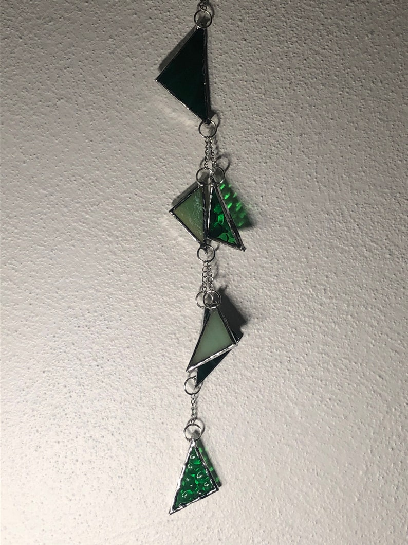 Green stain glass hanging triangles