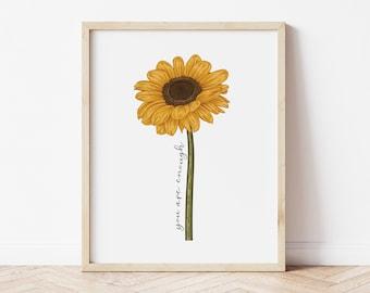 Sunflower You Are Enough, Printable Wall Art, Digital Wall Art, Sunflower Art, Home Decor, Wall Hanging, Boho, Farmhouse, Inspirational