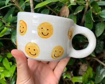Smiley Face Mug   Sky Blue smiley mug   Hand made ceramic mug