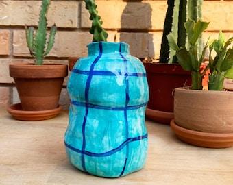 Blue Grid Bubble Vase   Hand made ceramic vase   Bubble decor   Colorful danish decor