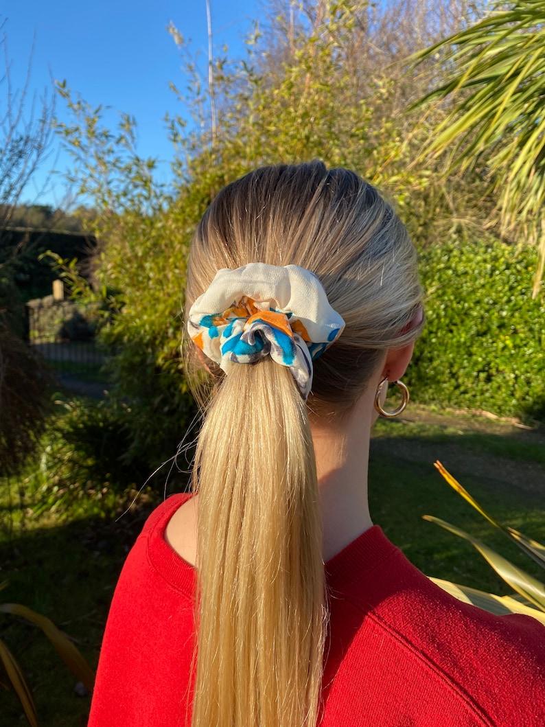 Screen Printed Silk Habotai Hair Scrunchie
