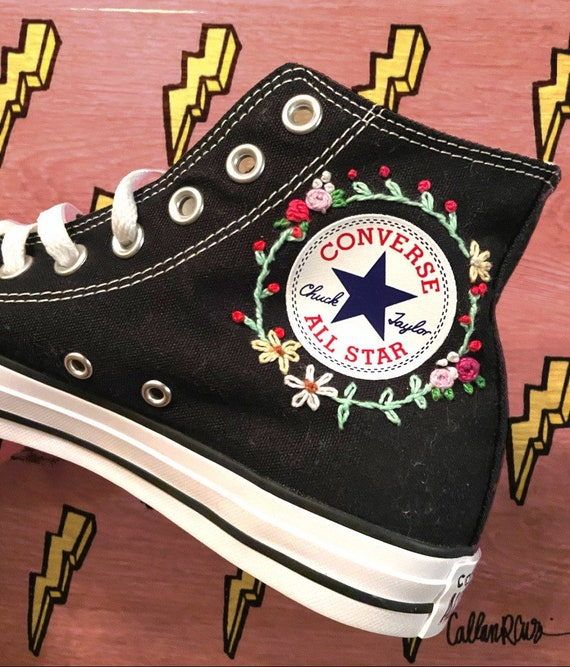 Embroidered High Top Converse   Etsy