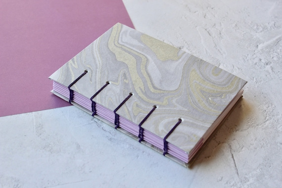 Silver Marbled Notebook | Handmade A6 Coptic Stitch Notebook | Lined Notebook | Gift Idea for Students | Gift Idea for Teachers