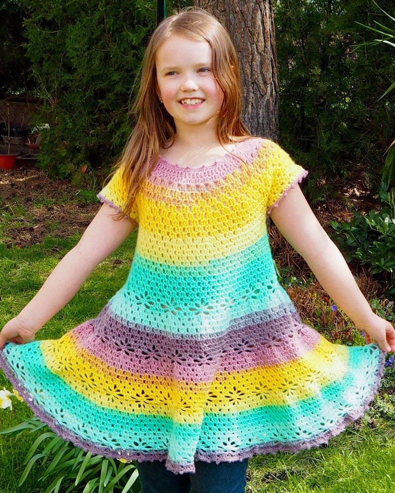 Crochet cute rainbow summer DRESS very easy crochet beginners image 0