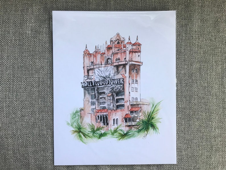 tower watercolor print 8x10