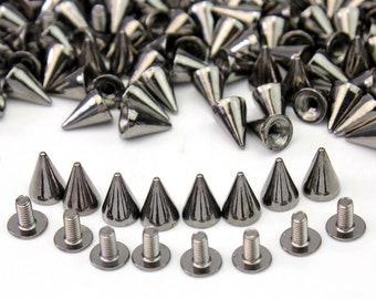 Metal Screwback Cone Studs Bullet Spike Long Punk Rivets DIY Leather Craft Decor