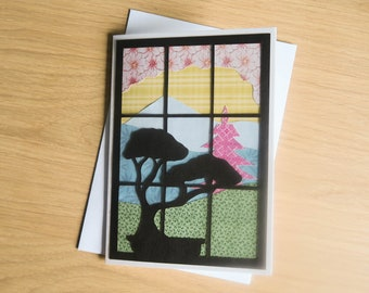 Japanese Window Birthday Card | Handmade Collage Blank Greetings Card with Bonsai Pagoda Silhouette inspired by Fuji, Japan