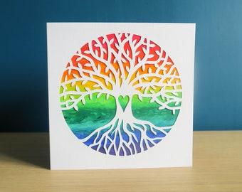 Tree of Life Greetings Card, Handmade Rainbow Birthday Design, Norse Yggdrasil Artwork