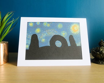 Men-An-Tol on a Starry Night | Handmade Birthday Card & Wall Art | Ancient Stones Silhouette in Van Gogh style